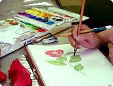 日本画Iの教室風景・作品